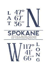 Spokane, Washington - Latitude and Longitude (Blue) by Lantern Press