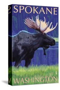 Spokane, Washington, Moose at Night by Lantern Press