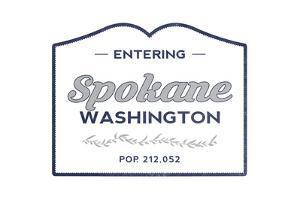 Spokane, Washington - Now Entering (Blue) by Lantern Press