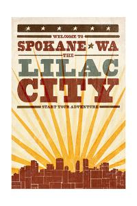 Spokane, Washington - Skyline and Sunburst Screenprint Style by Lantern Press