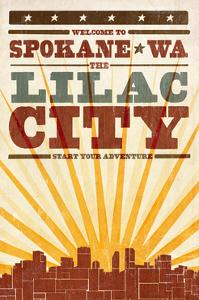 Spokane, Washington - Skyline and Sunburst Screenprint Style by Lantern Press