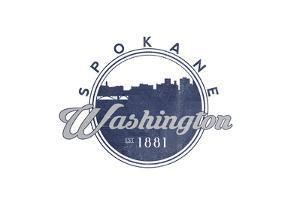 Spokane, Washington - Skyline Seal (Blue) by Lantern Press