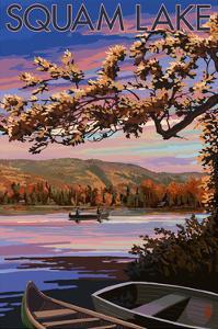 Squam Lake, New Hampshire - Lake at Dusk by Lantern Press
