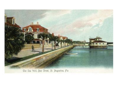 St. Augustine, Florida - Bay Street View of the Sea Wall