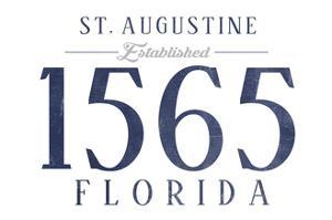 St. Augustine, Florida - Established Date (Blue) by Lantern Press