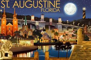 St. Augustine, Florida - Night Scene by Lantern Press