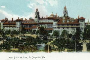 St. Augustine, Florida - Panoramic View of Hotel Ponce De Leon by Lantern Press