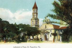 St. Augustine, Florida - View of the Cathedral from the Plaza by Lantern Press