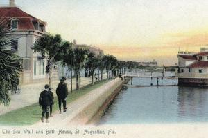St. Augustine, Florida - View of the Sea Wall and Bath House by Lantern Press