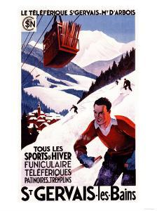 St. Gervais-Les-Bains, France - SNCF Railway Cable Car Promo Poster by Lantern Press