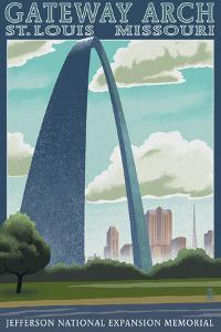 St. Louis, Missouri - Gateway Arch Lithography Style by Lantern Press