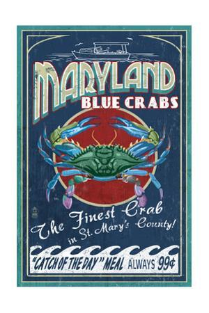 St. Mary's County, Maryland - Blue Crabs Vintage Sign by Lantern Press