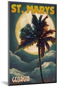 St. Marys, Georgia - Palm and Moon by Lantern Press