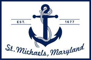 St. Michaels, Maryland - Blue and White Anchor by Lantern Press