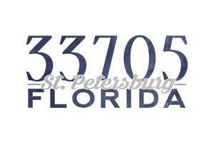 St. Petersburg, Florida - 33705 Zip Code (Blue) by Lantern Press