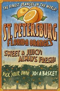 St. Petersburg, Florida - Orange Grove Vintage Sign by Lantern Press