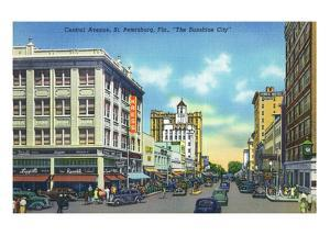 St. Petersburg, Florida - View Down Central Avenue by Lantern Press