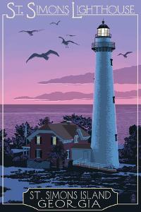St. Simons, Georgia - Lighthouse by Lantern Press