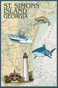 St. Simons Island, Georgia - Nautical Chart by Lantern Press