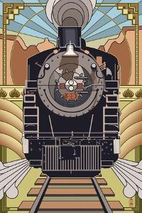 Steam Locomotive - Deco Style by Lantern Press