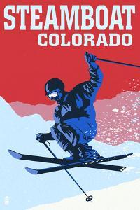 Steamboat, Colorado - Colorblocked Skier by Lantern Press