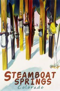 Steamboat Springs, CO - Colorful Skis by Lantern Press