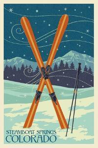 Steamboat Springs, Colorado - Crossed Skis by Lantern Press