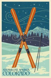 Steamboat Springs, Colorado - Crossed Skis by Lantern Press