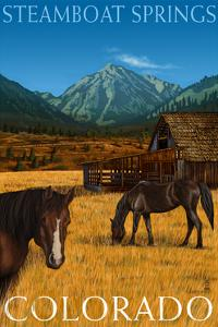 Steamboat Springs, Colorado - Horses and Barn by Lantern Press