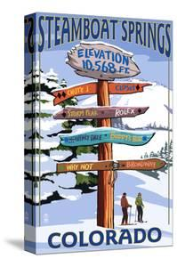 Steamboat Springs, Colorado - Ski Run Signpost by Lantern Press