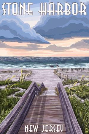 Stone Harbor, New Jersey - Beach Boardwalk Scene by Lantern Press