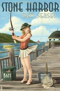 Stone Harbor, New Jersey - Fishing Pinup by Lantern Press