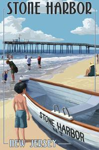 Stone Harbor, New Jersey - Lifeboat by Lantern Press