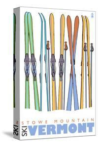 Stowe Mountain, Vermont, Skis in the Snow by Lantern Press