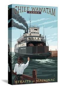 Straits of Mackinac, Michigan - Chief Wawatam Ferry by Lantern Press