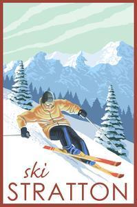 Stratton, Vermont - Downhill Skier Scene by Lantern Press