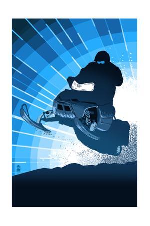 Styalized Snowmobile by Lantern Press