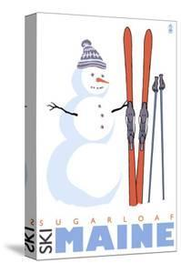Sugarloaf, Maine, Snowman with Skis by Lantern Press