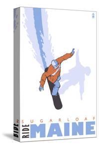 Sugarloaf, Maine, Stylized Snowboarder by Lantern Press