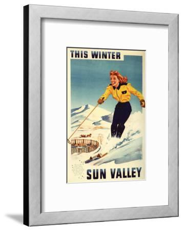 Sun Valley, Idaho - Red-headed Woman Smiling and Skiing Poster