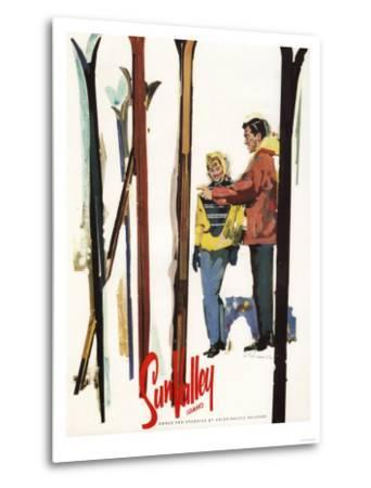 Sun Valley, Idaho - Skis Standing Up in Snow by Couple Poster