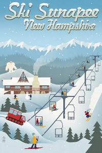 Sunapee, New Hampshire - Retro Ski Resort by Lantern Press