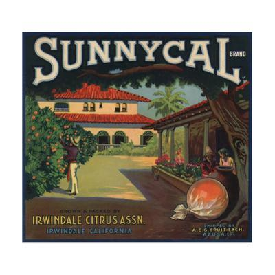 Sunnycal Brand- Irwindale, California - Citrus Crate Label by Lantern Press