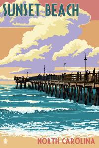 Sunset Beach - Calabash, North Carolina - Pier Scene by Lantern Press