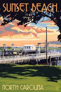 Sunset Beach - Calabash, North Carolina - Swinging Bridge by Lantern Press