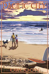 Sunset Beach Scene - Pacific City, Oregon by Lantern Press