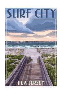 Surf City, New Jersey - Beach Boardwalk Scene by Lantern Press