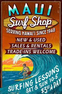 Surf Shop Vintage Sign - Maui, Hawaii by Lantern Press