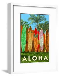 Surfboard Fence - Aloha by Lantern Press