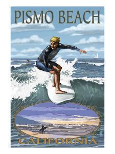Surfer Day Scene - Pismo Beach, California by Lantern Press